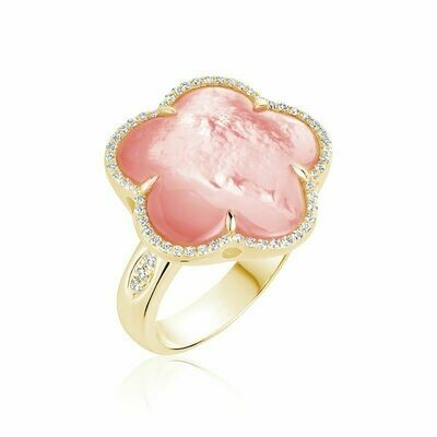 Pink Mother of Pearl & Diamond Flower Ring Yellow Gold