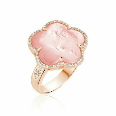 Pink Mother of Pearl & Diamond Flower Ring Rose Gold