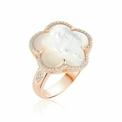 White Mother of Pearl & Diamond Flower Ring Rose Gold