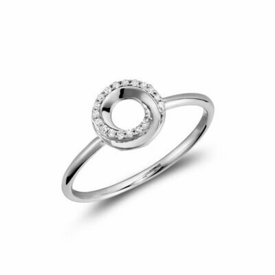 Diamond Swirl Ring 10KT White Gold 0.05CTDI