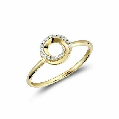 Diamond Swirl Ring 10KT Yellow Gold 0.05CTDI