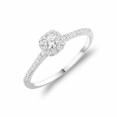 Cushion Diamond Halo Engagement Ring White Gold