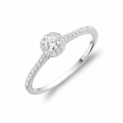 Round Diamond Halo Engagement Ring White Gold