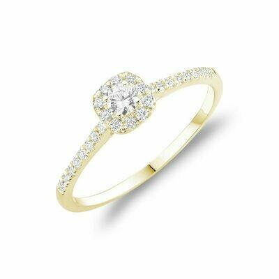 Cushion Diamond Halo Engagement Ring Yellow Gold
