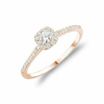 Cushion Diamond Halo Engagement Ring Rose Gold