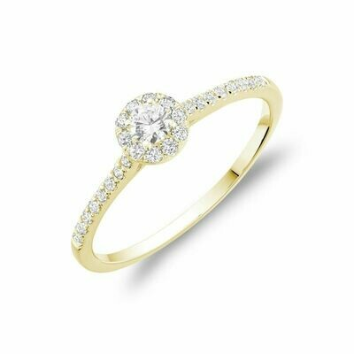 Round Diamond Halo Engagement Ring Yellow Gold