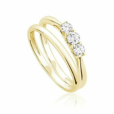 Three Stone Diamond Engagement Ring Set 10KT Yellow Gold 0.35CTDI