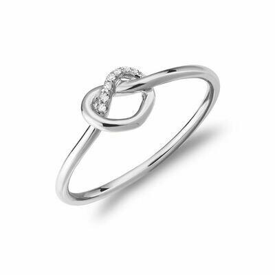 Diamond Love Knot Ring 10KT White Gold 0.02CTDI
