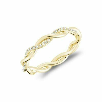 Twisted Diamond Band 10KT Yellow Gold 0.10CTDI