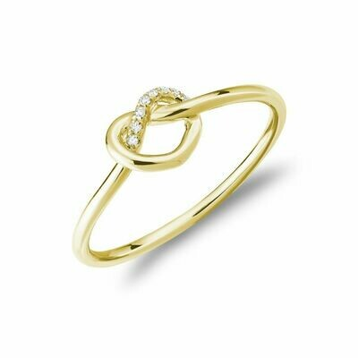 Diamond Love Knot Ring 10KT Yellow Gold 0.02CTDI