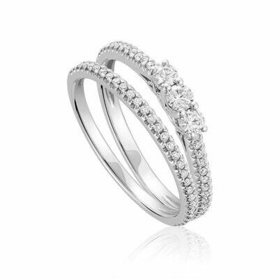 Three Stone Diamond Engagement Ring Set 10KT White Gold 0.25 carat - 0.40 CT TDW