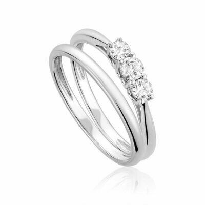 Three Stone Diamond Engagement Ring Set 10KT White Gold 0.35CTDI