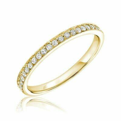 Diamond Pavé Milgrain Band 10KT Yellow Gold 0.16CTDI