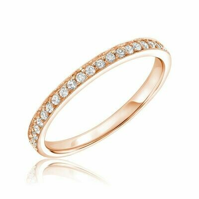 Diamond Pavé Milgrain Band 10KT Rose Gold 0.16CTDI