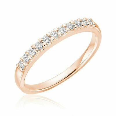 Diamond Claw Set Semi Eternity Band 10KT Rose Gold 0.15CTDI