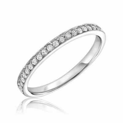 Diamond Pavé Milgrain Band 10KT White Gold 0.16CTDI