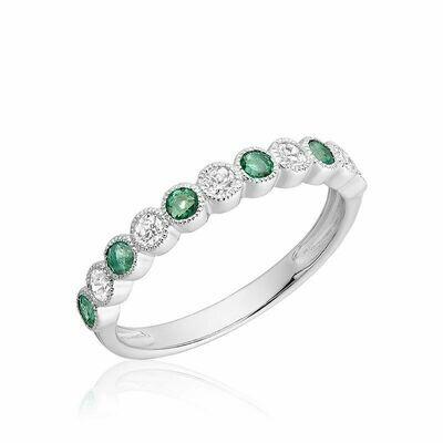 Semi Eternity Emerald & Diamond Band White Gold