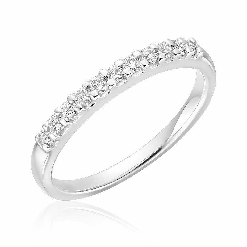 Diamond Claw Set Semi Eternity Band 10KT White Gold 0.15CTDI