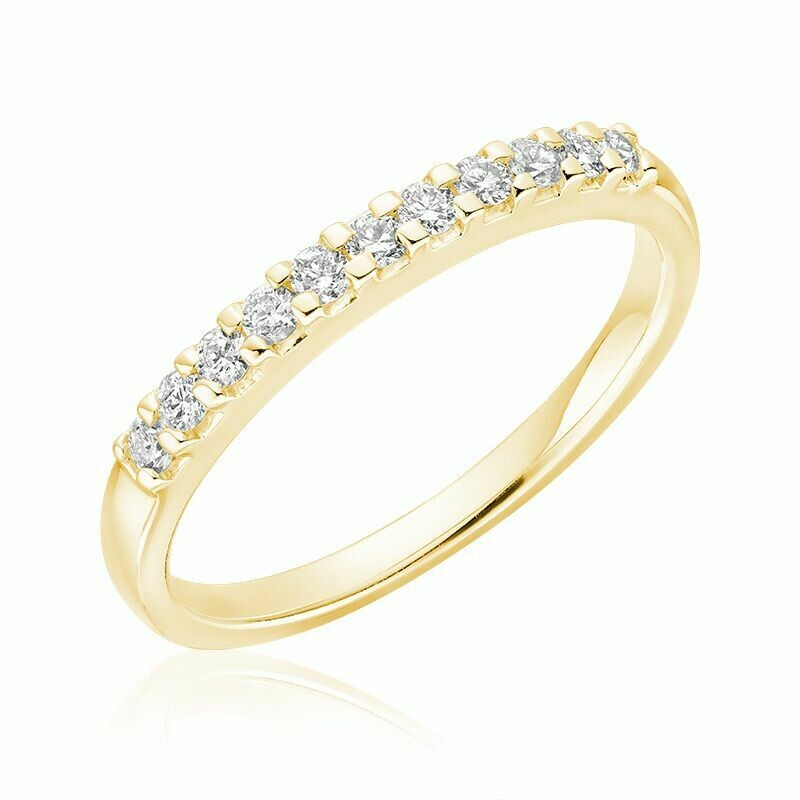 Diamond Claw Set Semi Eternity Band 10KT Yellow Gold 0.15CTDI