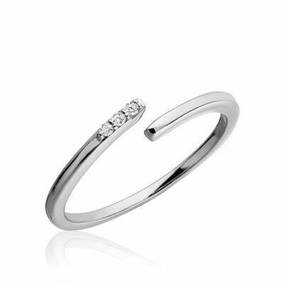 Three Stone Bypass Diamond Ring 10KT White Gold 0.03CTDI