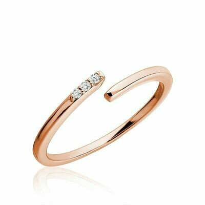 Three Stone Bypass Diamond Ring 10KT Rose Gold 0.03CTDI