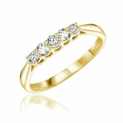 Five Stone Solitaire Diamond Ring Yellow Gold