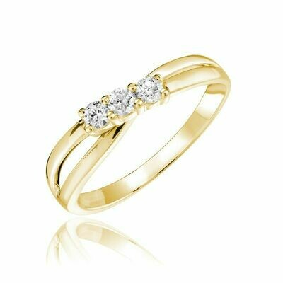 Three Stone Solitaire Fashion Ring Yellow Gold