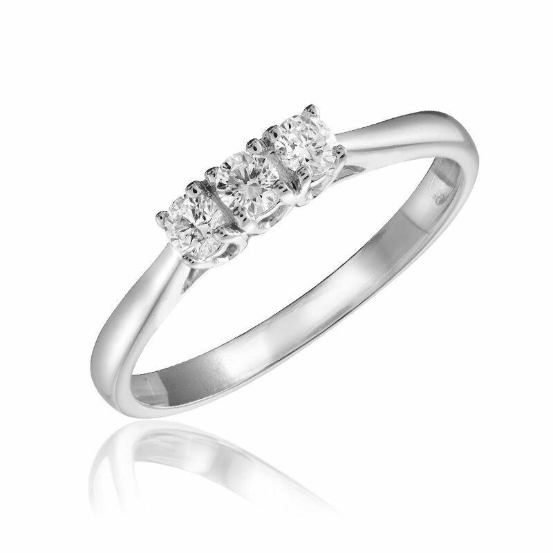 Three Stone Diamond Ring 10KT White Gold 0.17CTDI