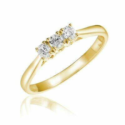 Three Stone Diamond Ring 10KT Yellow Gold 0.17CTDI