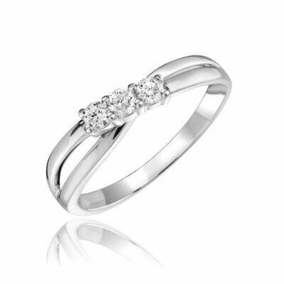Three Stone Solitaire Fashion Ring White Gold