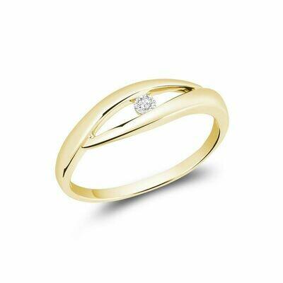 Solitaire Diamond Fashion Ring Yellow Gold