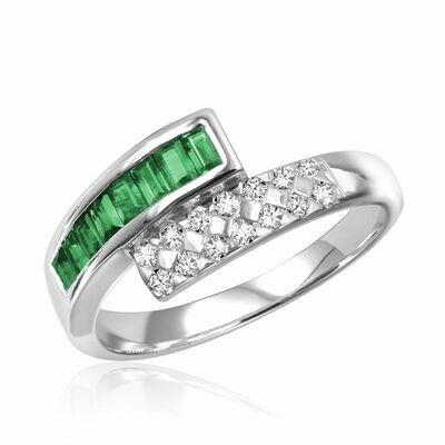 Bypass Emerald & Diamond Ring