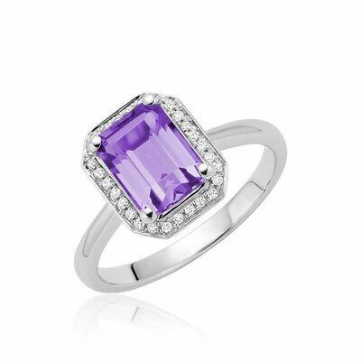 Amethyst & Diamond Emerald Cut Ring