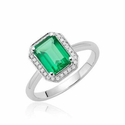 Created Emerald & Diamond Emerald Cut Ring