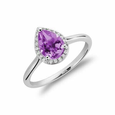 Amethyst & Diamond Pear Shape Ring
