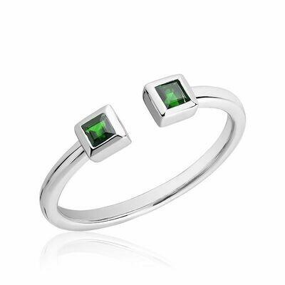 Split Open Shank Emerald Ring White Gold