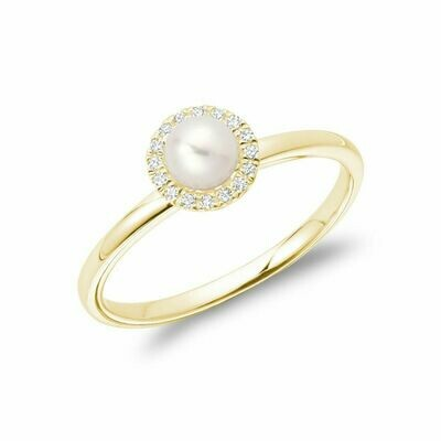 Freshwater Pearl & Diamond Ring 5MM Yellow Gold