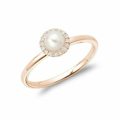 Freshwater Pearl & Diamond Ring 5MM Rose Gold