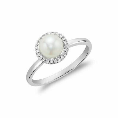 Freshwater Pearl & Diamond Ring 6MM White Gold