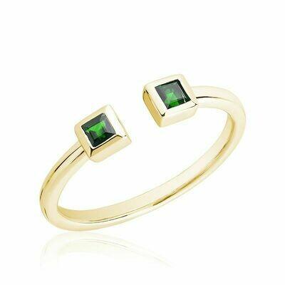 Split Open Shank Emerald Yellow Gold