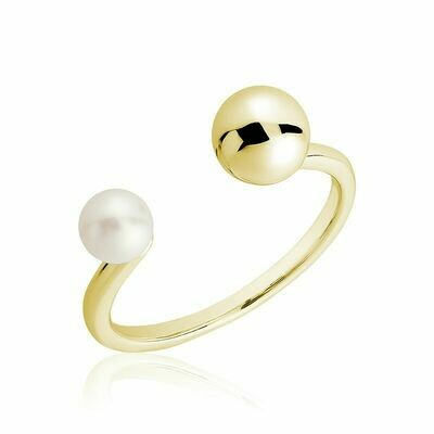 Open Pearl Ring Yellow Gold