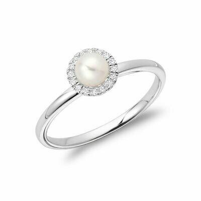 Freshwater Pearl & Diamond Ring 5MM White Gold