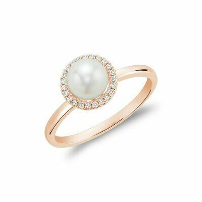 Freshwater Pearl & Diamond Ring 6MM Rose Gold