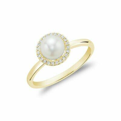 Freshwater Pearl & Diamond Ring 6MM Yellow Gold