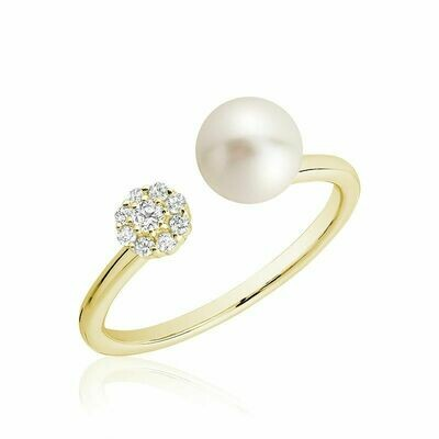 Open Pearl Ring with Cluster Setting Diamonds Yellow Gold