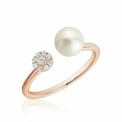 Open Pearl Ring with Cluster Setting Diamonds Rose Gold