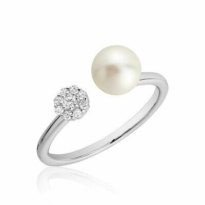 Open Pearl Ring with Cluster Setting Diamonds White Gold