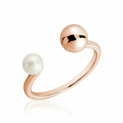Open Pearl Ring Rose Gold
