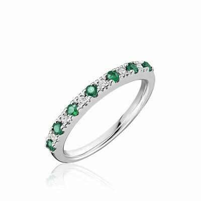 Pave Semi Eternity Emerald & Diamond Ring