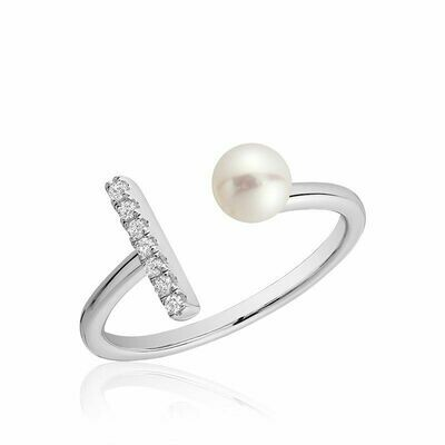 Open Pearl Ring with Diamonds White Gold